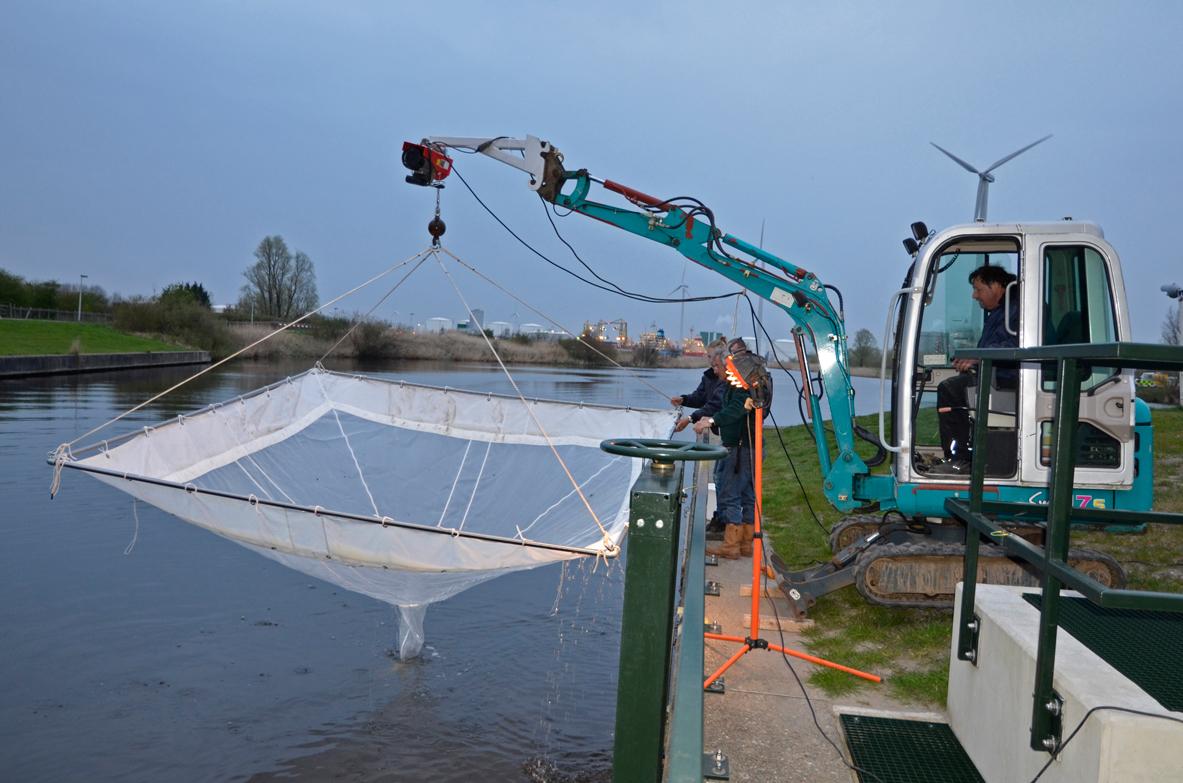 Met deze graafmachine kunnen wij de speciale glasaalfuik makkelijk in het water plaatsen.